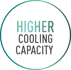 R32 has higher cooling capacity thereby increases heat transfer efficiency.