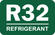 R32 Refrigerant logo - higher cooling capacity, reduce costs, eco-friendly