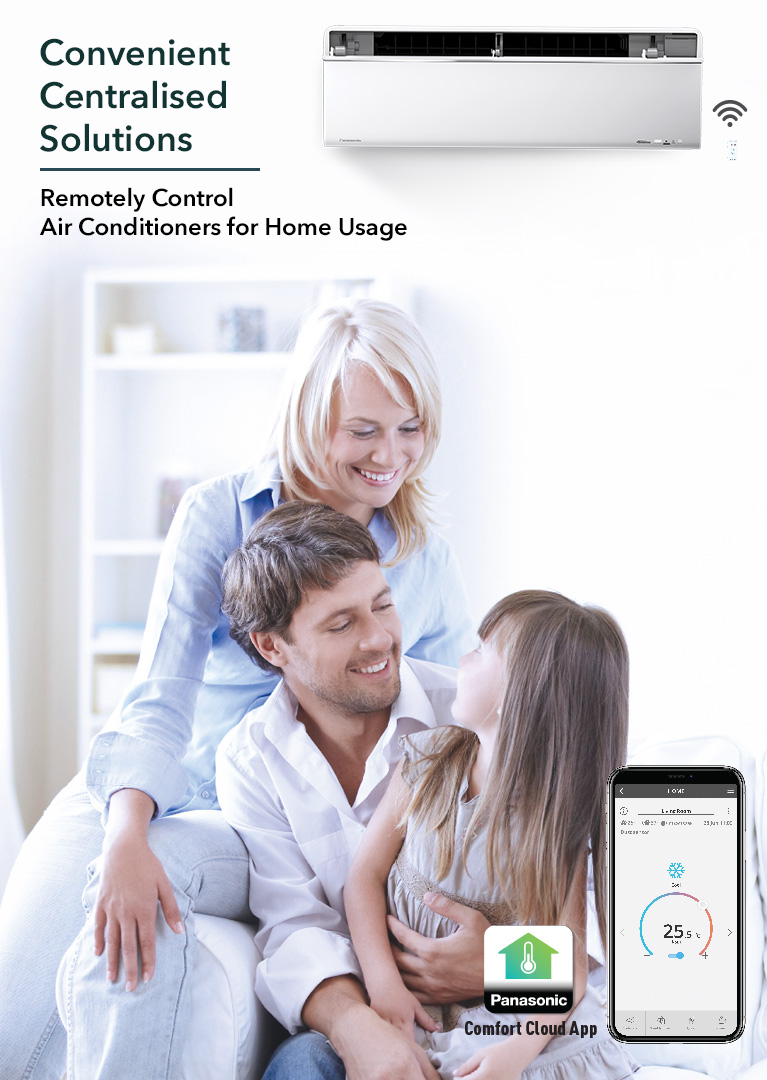 Smartify Your Air - the Panasonic Comfort Cloud app enables you to conveniently control multiple AC or aircond units for homes from just 1 smartphone.
